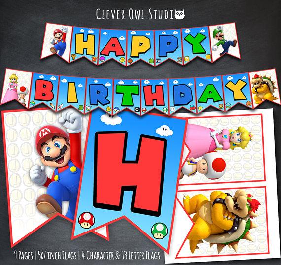 Super Mario Banner Super Mario Birthday Banner Super Mario Party