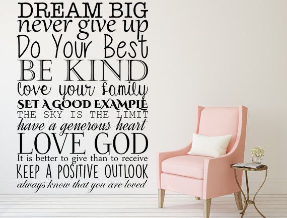 Dream Big Never Give Up Do Your Best Vinyl Wall Decal Dream Big - Best vinyl decal stickers