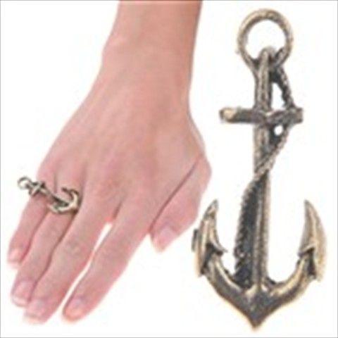 Anchor Design Two Finger Ring Double Finger Ring Ornamental Jewelry Finger Decor for Girls