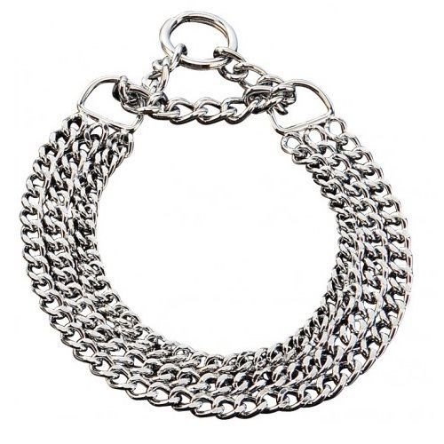 Triple Training Dog Collar All Breeds Silver Chromed Steel Free Postage