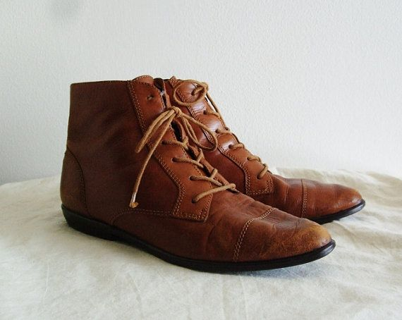 Classic Vintage Brown Leather Flat Ankle Lace Up Boots Boots Brown Leather Flats Leather Boots
