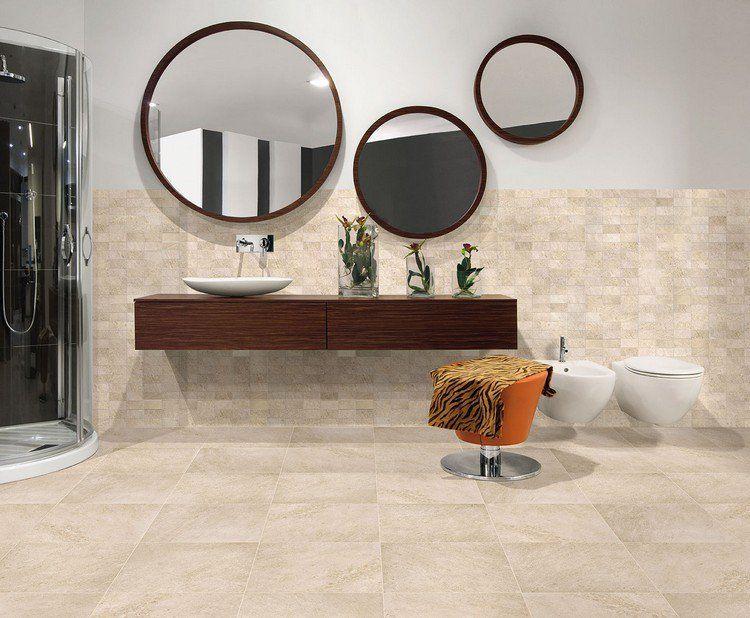 meuble sous vasque en bois massif, carrelage sol beige clair et - salle de bains beige
