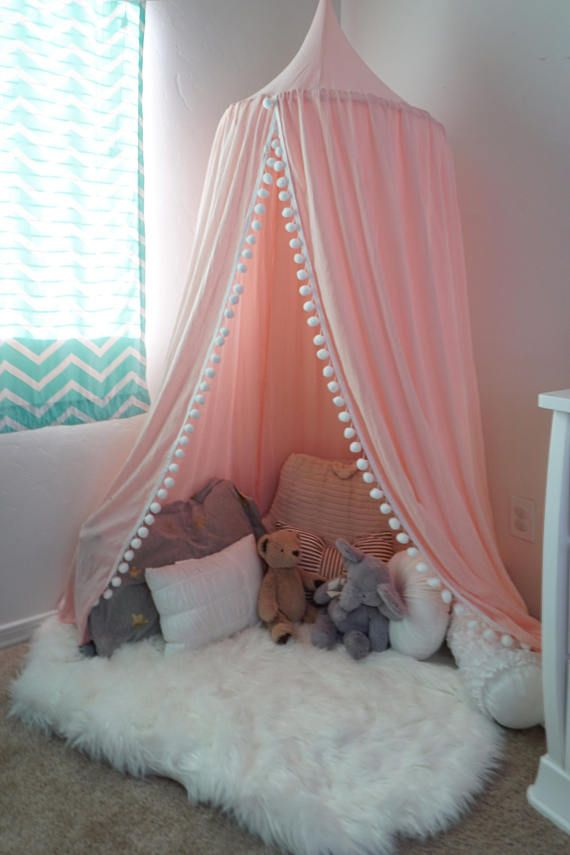 Pompom Play Canopy In Blush Pink Cotton Hanging Tent Play
