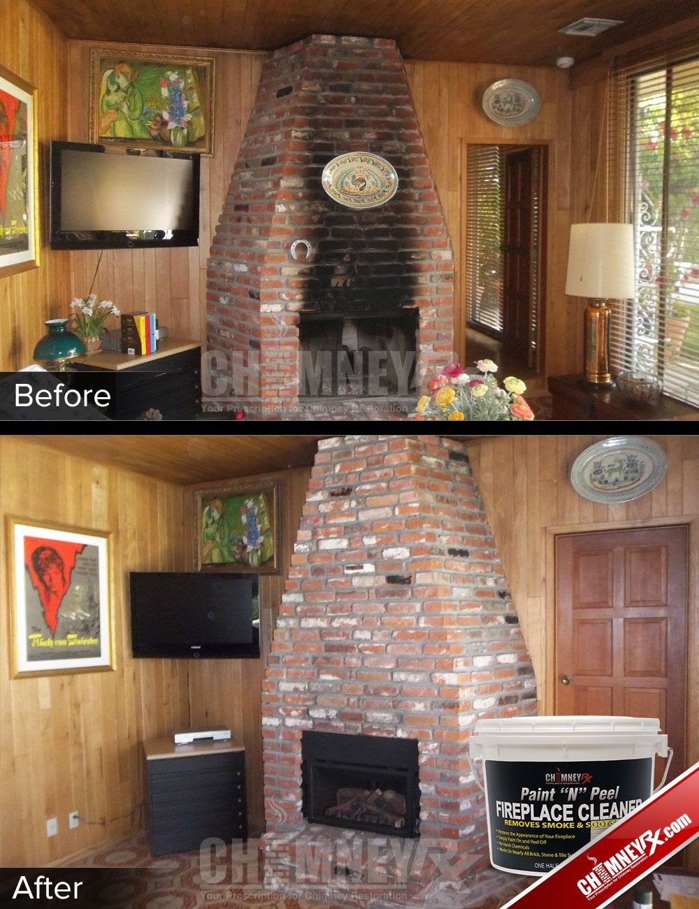 Black Smoke Stains On A Brick Fireplace Before And After Being