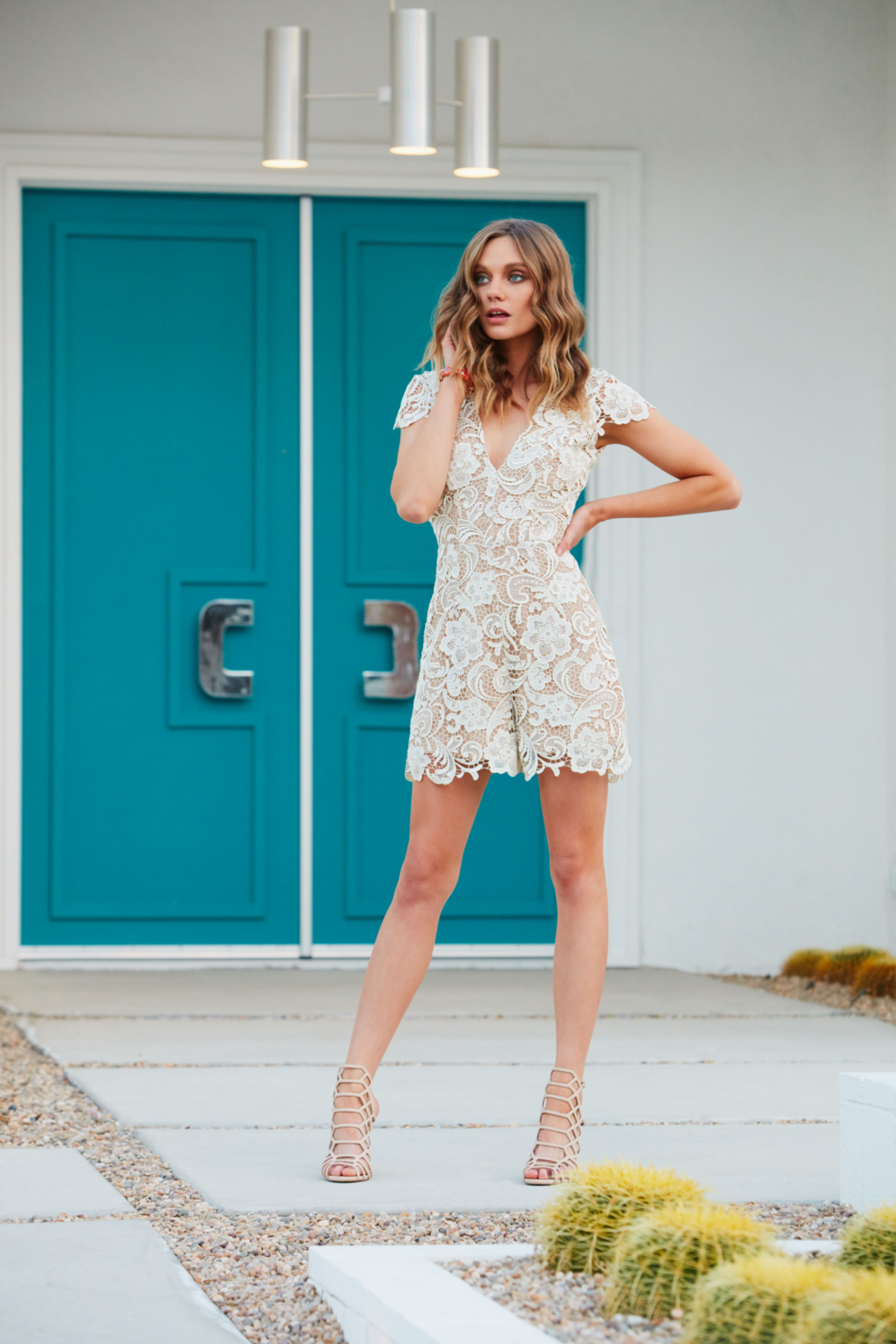 Dress the Population Juliette lace romper in ivory/nude. Available ...
