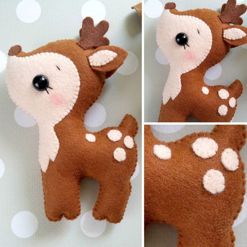 Felt deer pattern Felt sewing deer PDF tutorial DIY deer plushies tutorial Deer pdf sewing pattern DIY deer ornaments pattern felt