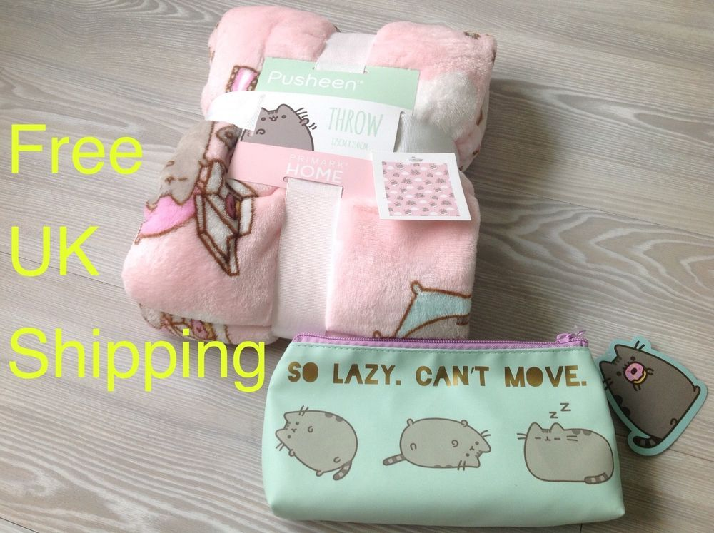 SOLD Pusheen The Cat kitten Neko Fleece pink throw