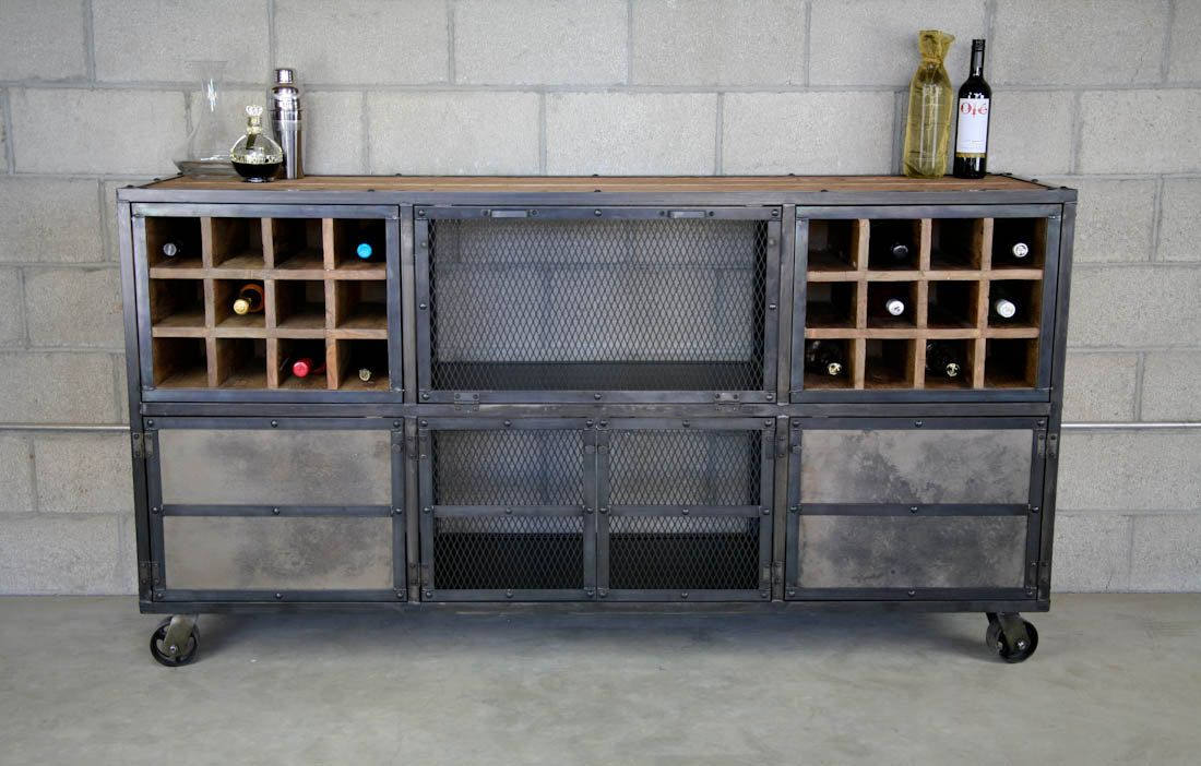 liquor cabinet bar rustic industrial vintage urban modern design reclaimed wood top. Black Bedroom Furniture Sets. Home Design Ideas