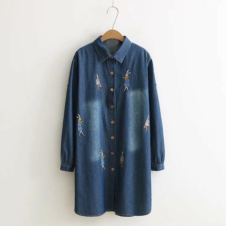 93980a15fee  DenimDress Women s Lolita distressed fade Blue Jeans Denim Button down  Polo Dress shirt - Denim