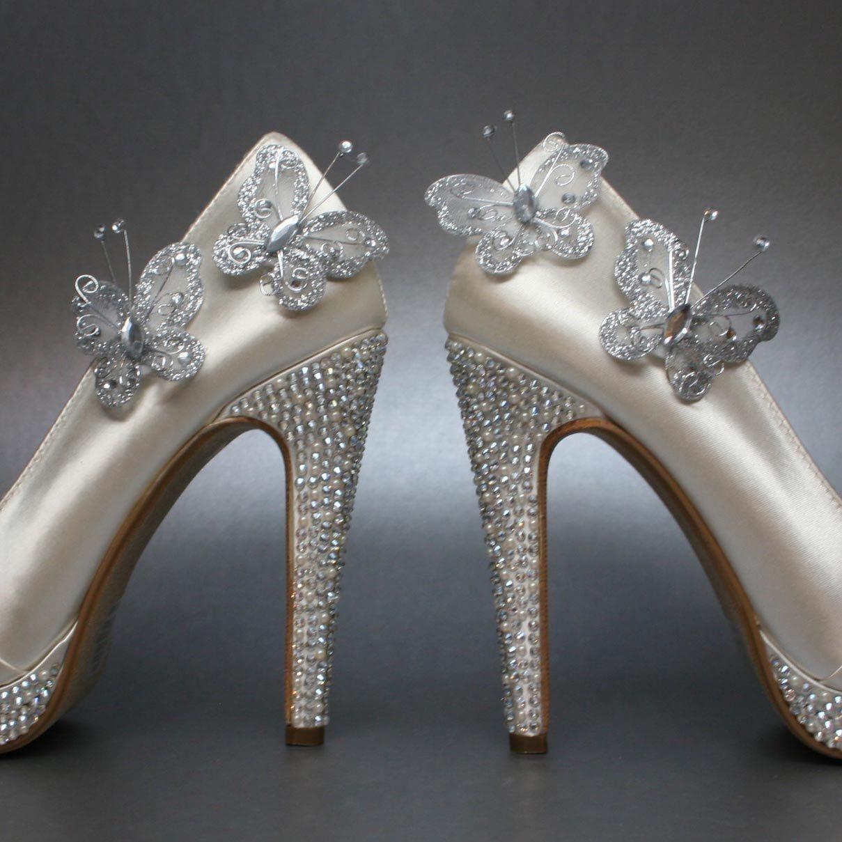 Wedding Shoes    Ivory Wedding Butterfly Platform Peeptoes With Rhinestones  On Platform And Heel.