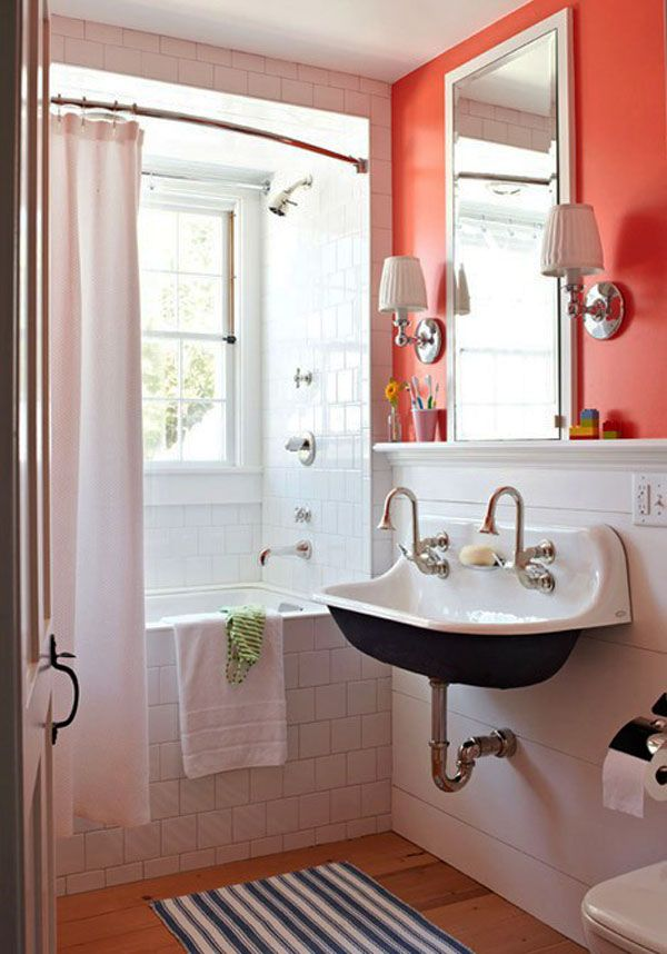 Love This Small Antique Looking Bathroom Hate The Coral Wall Paint Window By Shower Tub Curvy Silver Faucets At Sink White Tile Shower Tub