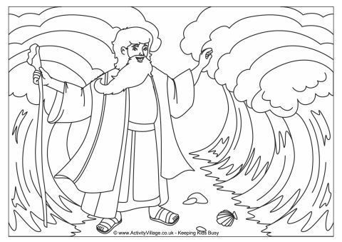 Moses parting the Red Sea colouring page. Click through to