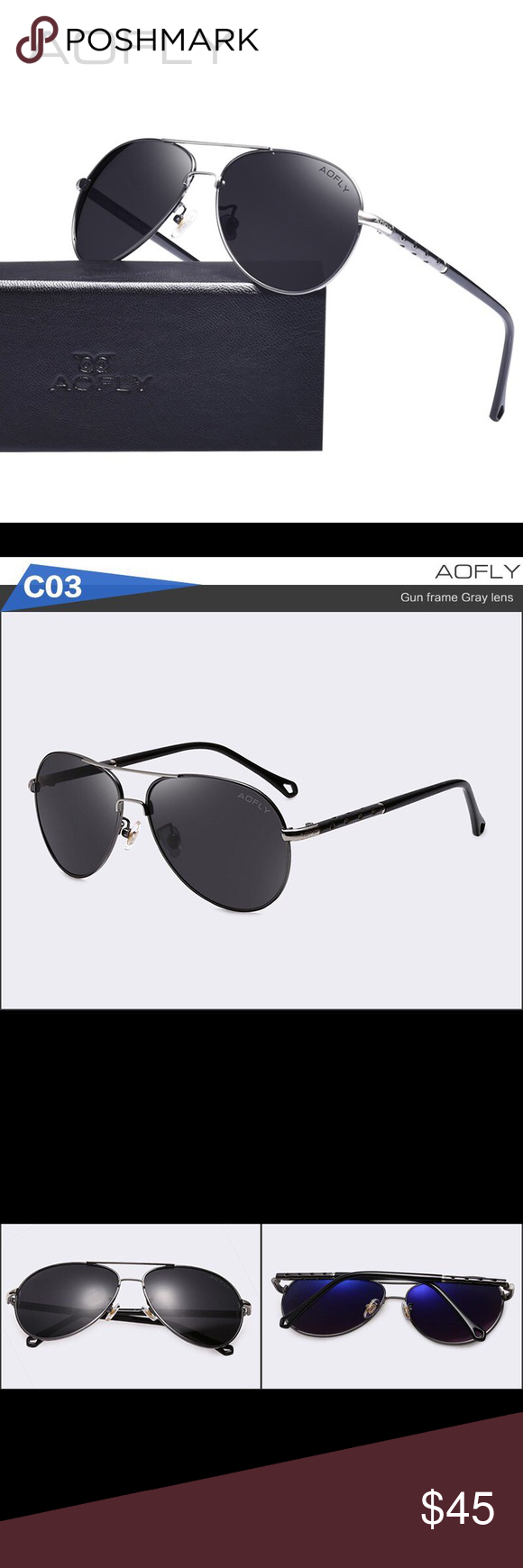 4330e760ff4 AOFLY Authentic Men s Aviator Sunglasses High quality material black and  gun metal frame with gray lenses