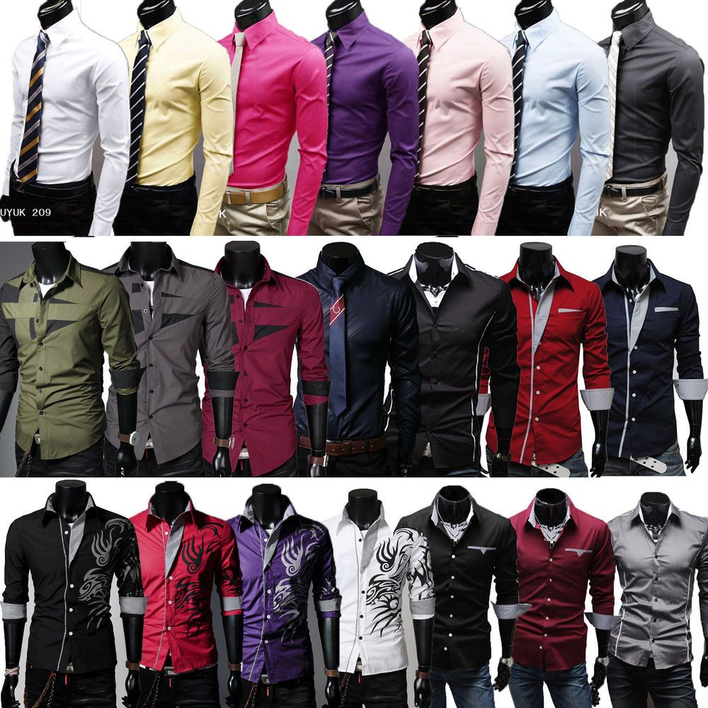 Stylish Men/'s Slim Fit Business Shirt Long Sleeve Dress Shirts Casual Cotton Top