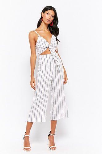 d3fe66c901de Striped Tie-Front Culotte Jumpsuit