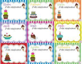 Les compartimos este bonito diseño por mes para registrar el cumpleaños de nuestros alumnos, agradecemos a la maestra Kim MS