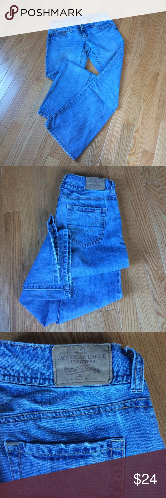 """American Eagle LowRise Artist Boot Cut Jeans Size 4 ShortAmerican Eagle Outfitter Artist jeans. perfectly faded with a little fray at the hem. super soft and very comfortable. approximate measurements: Waist 15.5"""" across, inseam: 30, thigh 10"""" across, Rise 6.5"""". 100% cotton. American Eagle Outfitters Jeans Boot Cut"""