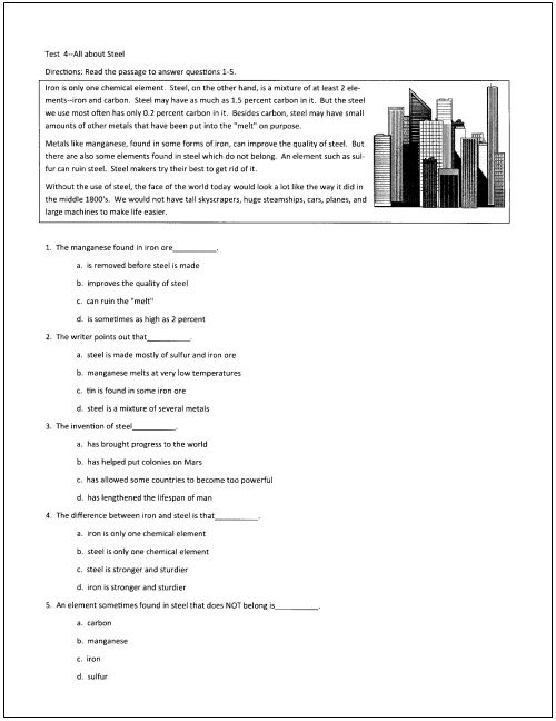 10 Free Reading Tests for Students in Grades 5 Through 9 | Reading ...