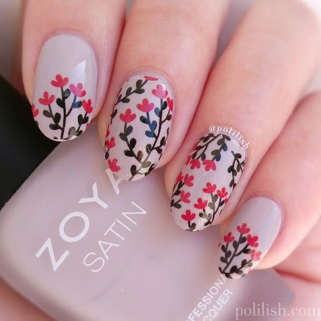 Floral Nail Art With Water Decals From Born Pretty Store Polilish