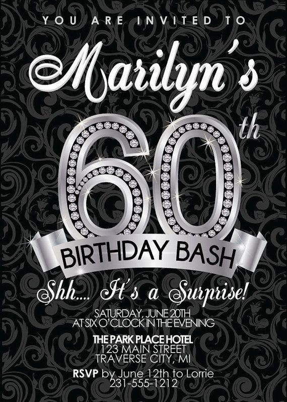 60th birthday invitation - adult birthday party invitation, Birthday invitations