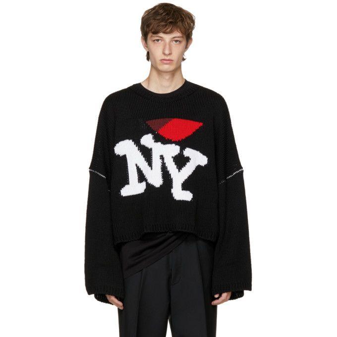 Long sleeve rib knit wool sweater in black. RAF SIMONS Black Oversize  I  Love NY  Sweater.  rafsimons  cloth   de4cd9f43