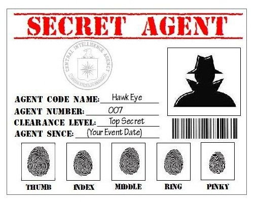 Secret agent spy detective cia printable id card party for Spy id card template