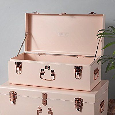 Amazon.com: Beautify Gray Vintage Style Steel Storage Trunk Set With Rose  Gold Handles   College Dorm U0026 Bedroom Footlocker: Kitchen U0026 Dining