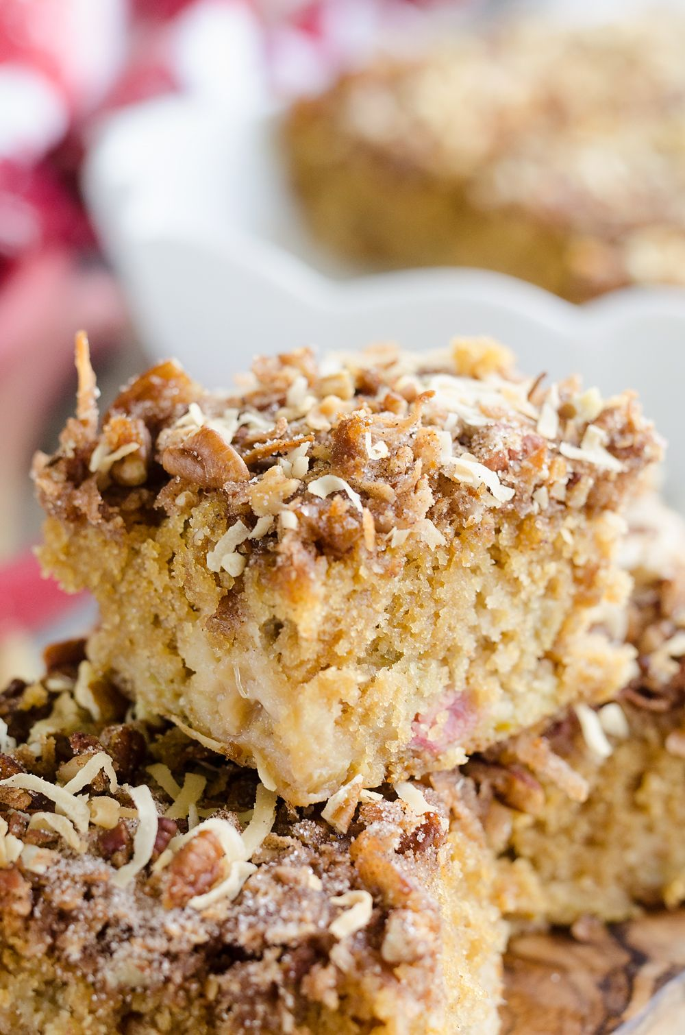 Rhubarb Streusel Coffee Cake Is A Moist Buttermilk Cake Full Of Fresh Rhubarb And Topped With A Crunchy Coconut And Pe