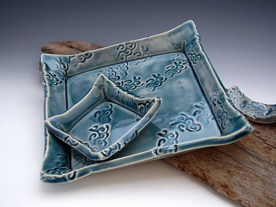 6 Piece Sushi Set Teal Blue Square Plate by DirtKickerPottery & 6 Piece Sushi Set Teal Blue Square Plate by DirtKickerPottery ...