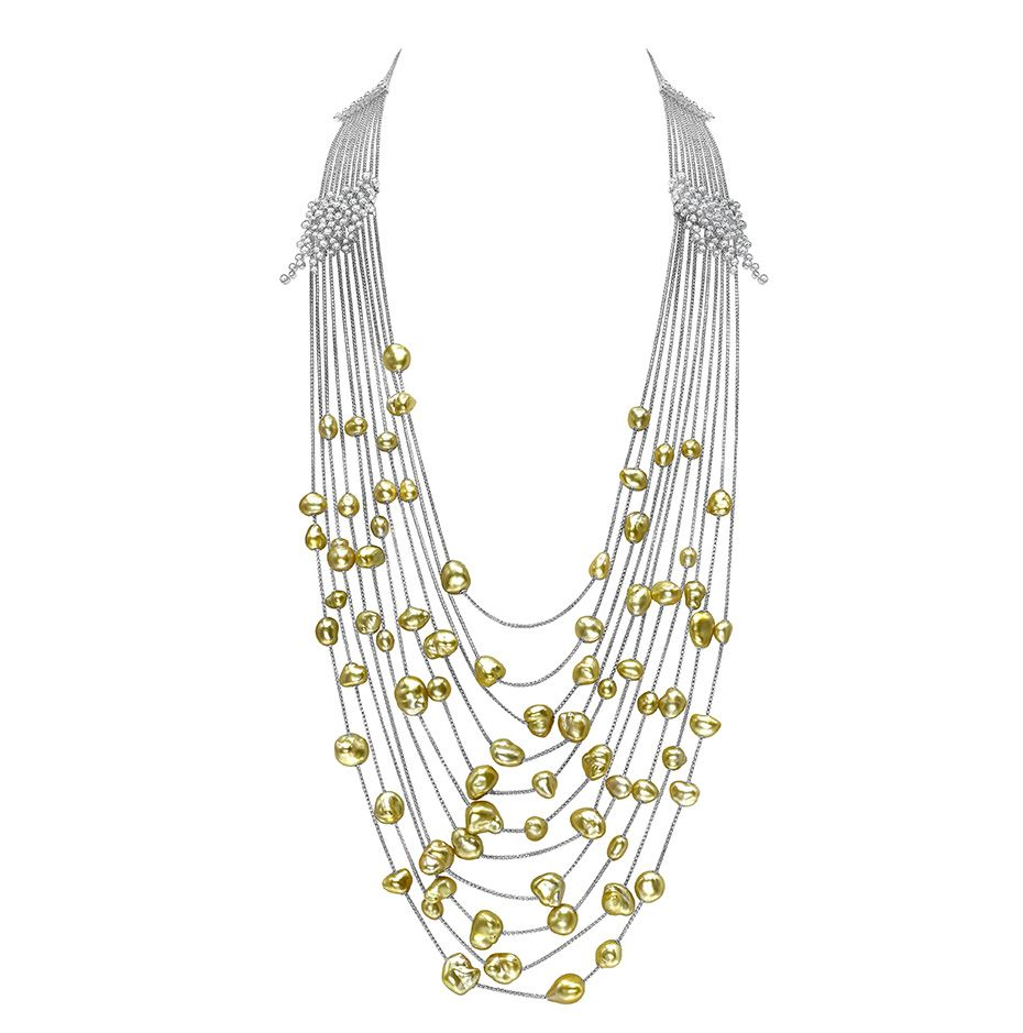 @Mikimoto Gold Cascade #necklace featuring gold #pearls and diamonds in white gold