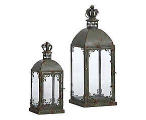 Set di 2 lanterne in metallo e vetro Arianne verde - max 57x22x22 cm