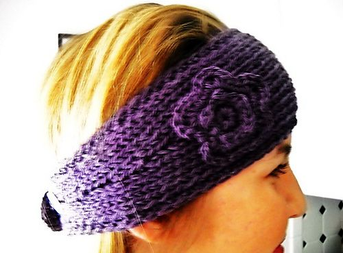 Knit Headband Tapered with Crochet Edge and Flower pattern by Kim ...