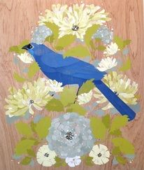 "Kokako"", 2013. Mixed Media on Wood, 550 x 650mm, $1875 http://www.blackdoorgallery.co.nz/featured-artists.html"