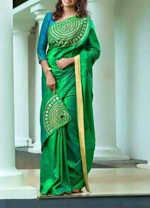 0caf9b3e9d2510 Peacock Colour matching silk saree with patch style. Tusser silk More