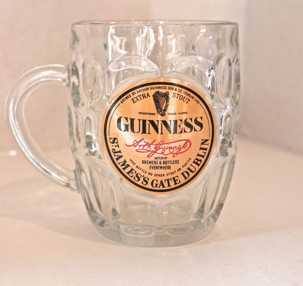Guinness Irish Stout Faceted Glass Beer Mug | Glass beer ...  Irish Beer Mug