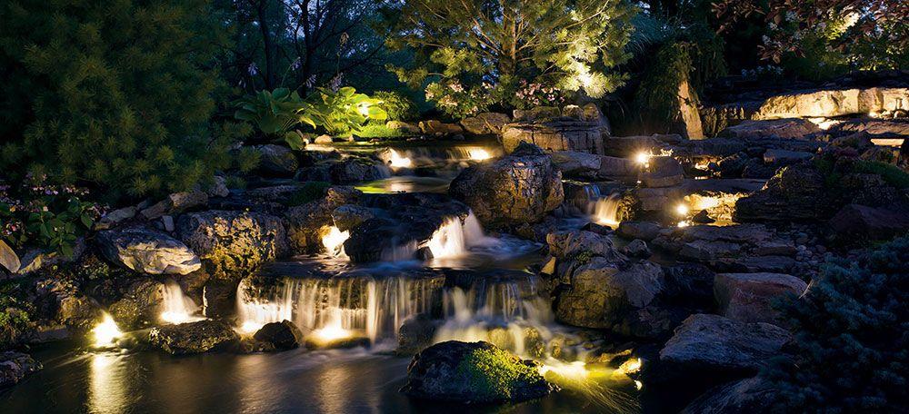 Kichler Landscape Night Rocky Waterfall Hz Outdoor