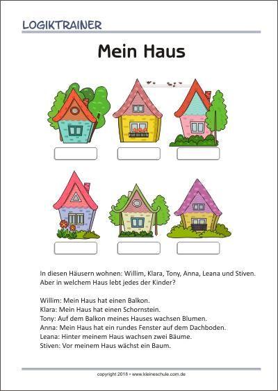 mein haus logiktrainer denksportaufgabe f r kinder kita learn german school und deutsch. Black Bedroom Furniture Sets. Home Design Ideas