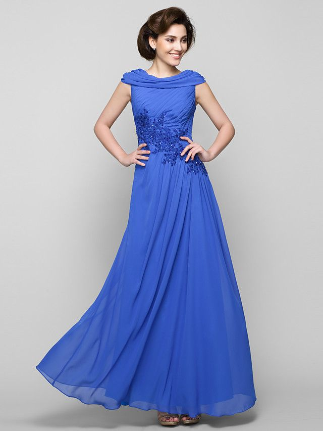Lanting Bride® A-line Mother of the Bride Dress Ankle-length Sleeveless Chiffon with Appliques / Criss Cross - USD $119.99