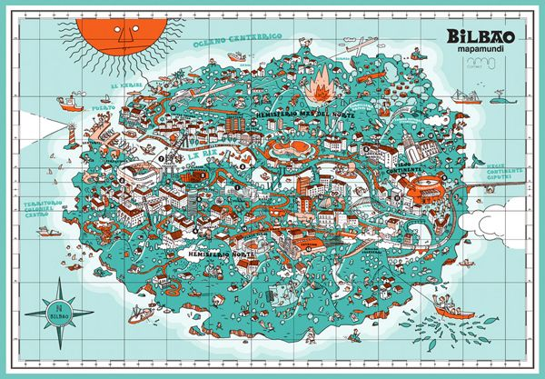 Bilbao On Map Of Spain.An Illustrative Map Of Bilbao Spain Cartography Map Bilbao