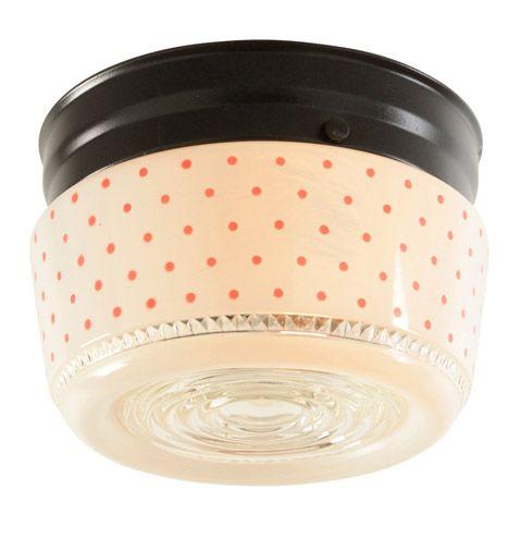 Mid Century Kitchen Light W Adorable Polka Dot Shade C1950