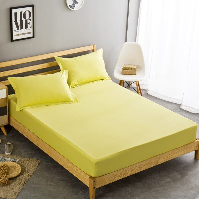 100cotton Fitted Sheet Yellow Solid Color Bed Sheets Single Queen