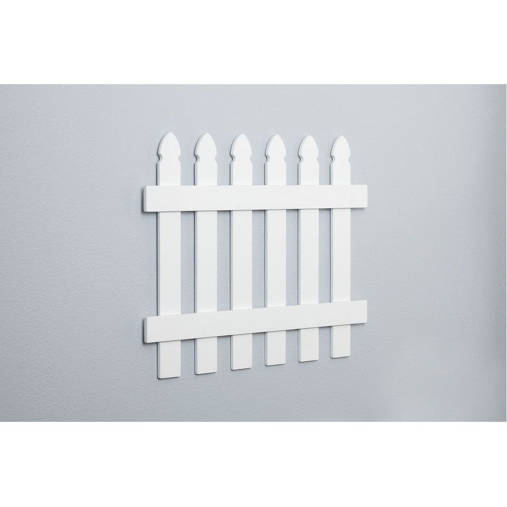 Kids Room Decor White Wooden Picket Fence Wall Border White