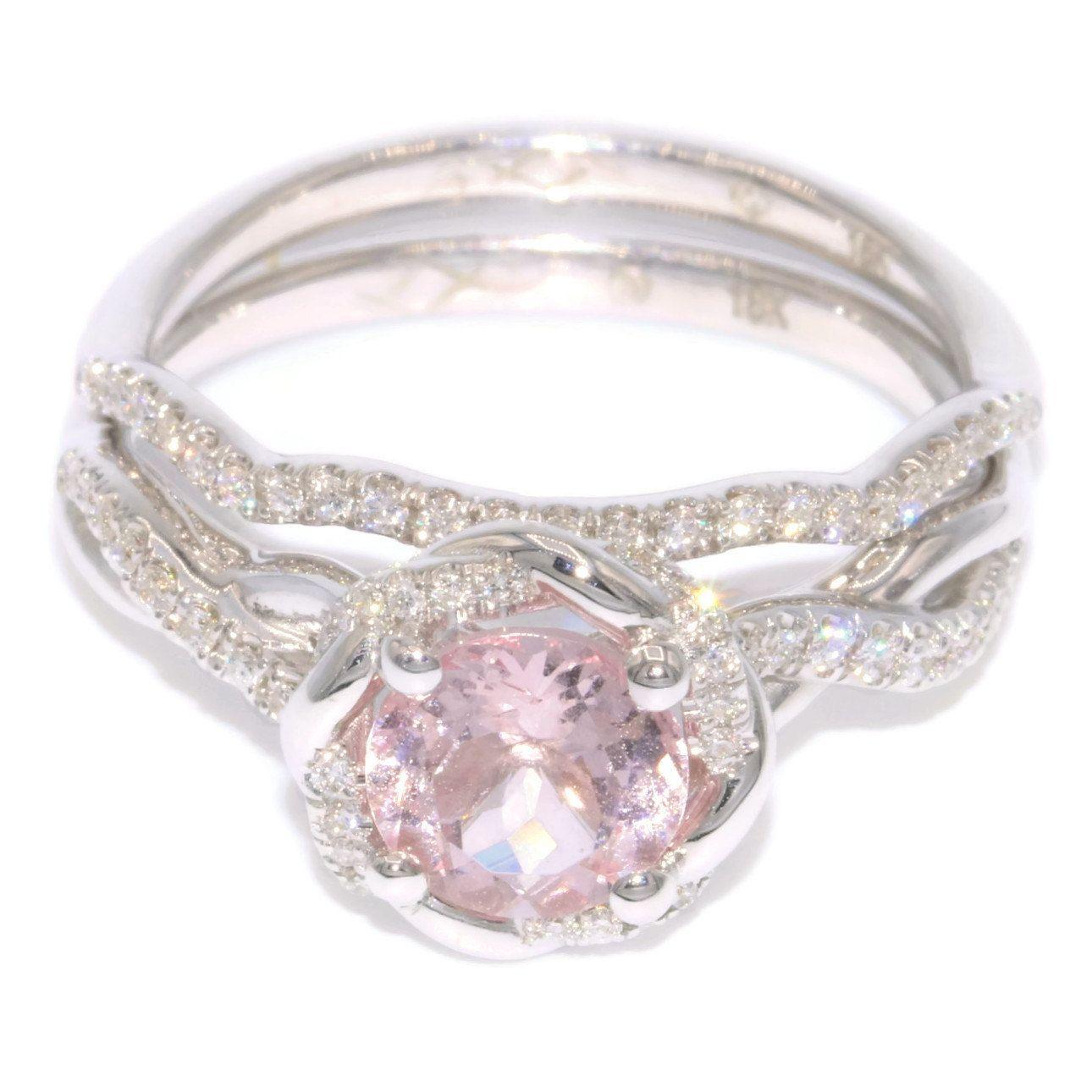 Engagement Ring Set, Braided Halo Wedding Ring