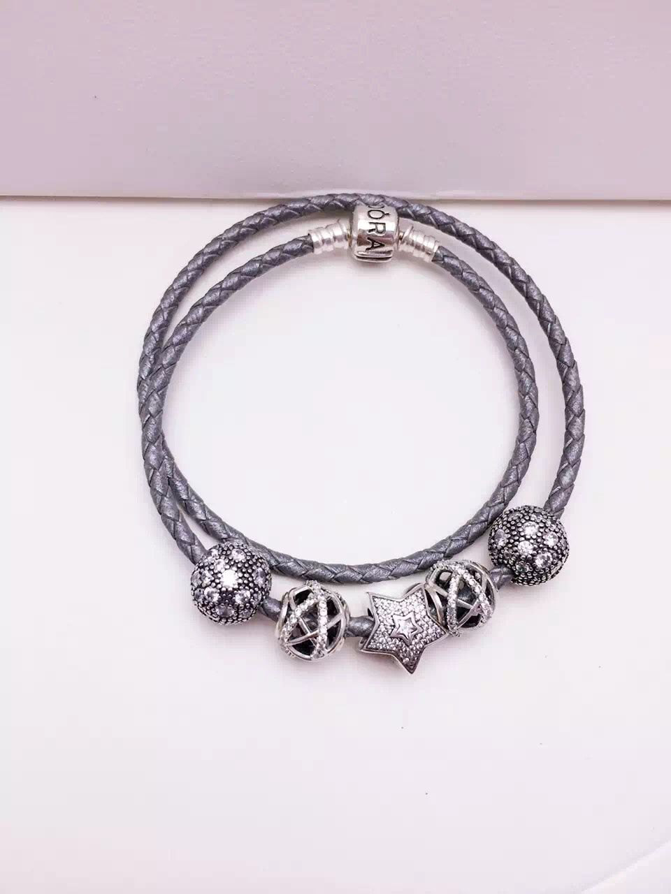$159 Pandora Sterling Silver Leather Charm Bracelet Cb01240