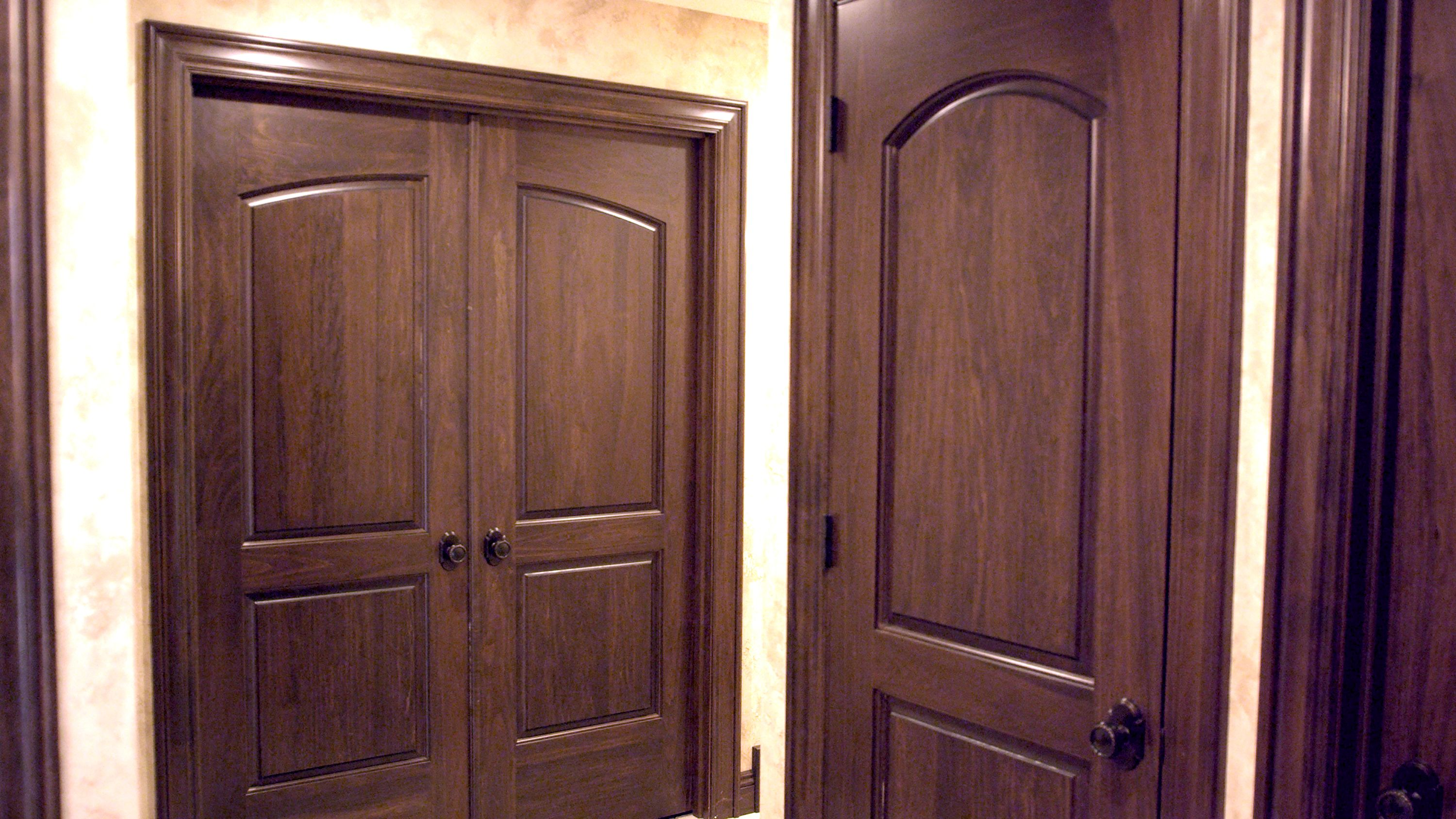 Custom poplar interior two panel continental closet door and two ...