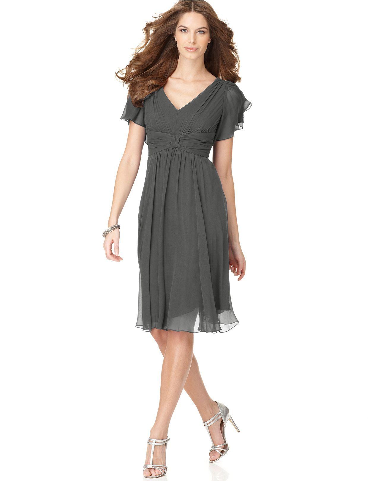 Suzi Chin Dress, Flutter Sleeve Chiffon - Womens Dresses - Macy\'s ...