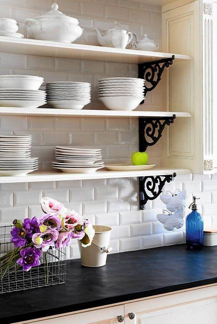Kitchen With Shelves Instead Of Cabinets Love Shelves Instead Of