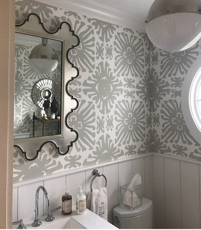 Glam Powder Room With One Of Our Favorite Wallpapers