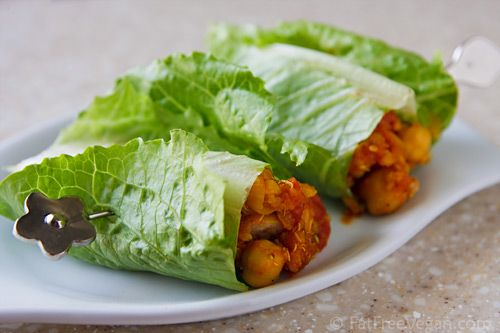 Chick pea and quinoa lettuce wraps