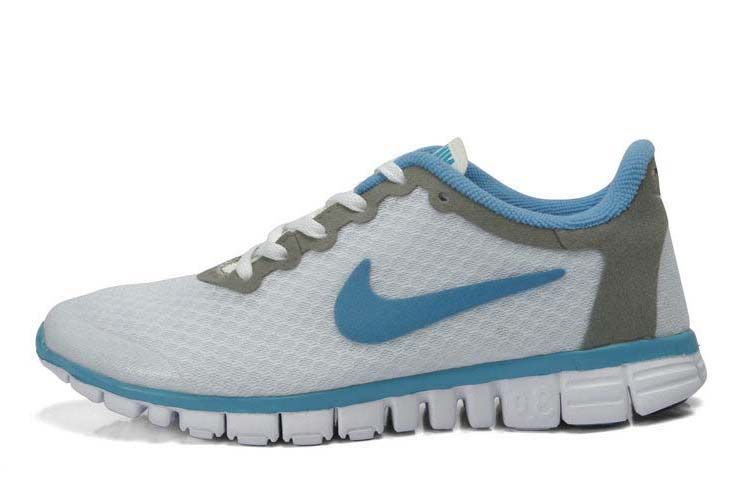 info for 02940 fffbd Nike Free 3.0 V2 White Grey Blue Running Shoes